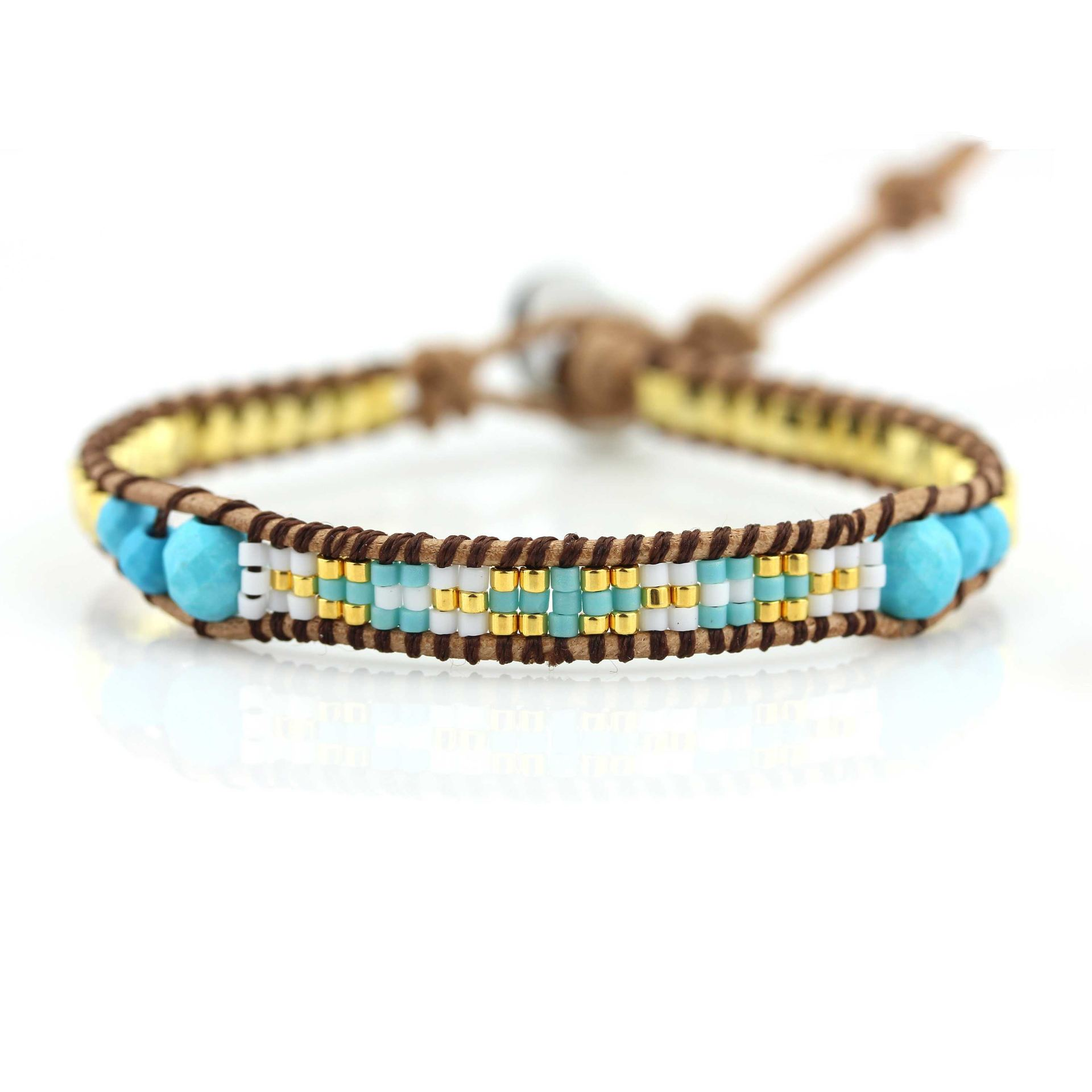 handmade beads leather wrap bracelet bohemian crystal TTT Jewelry