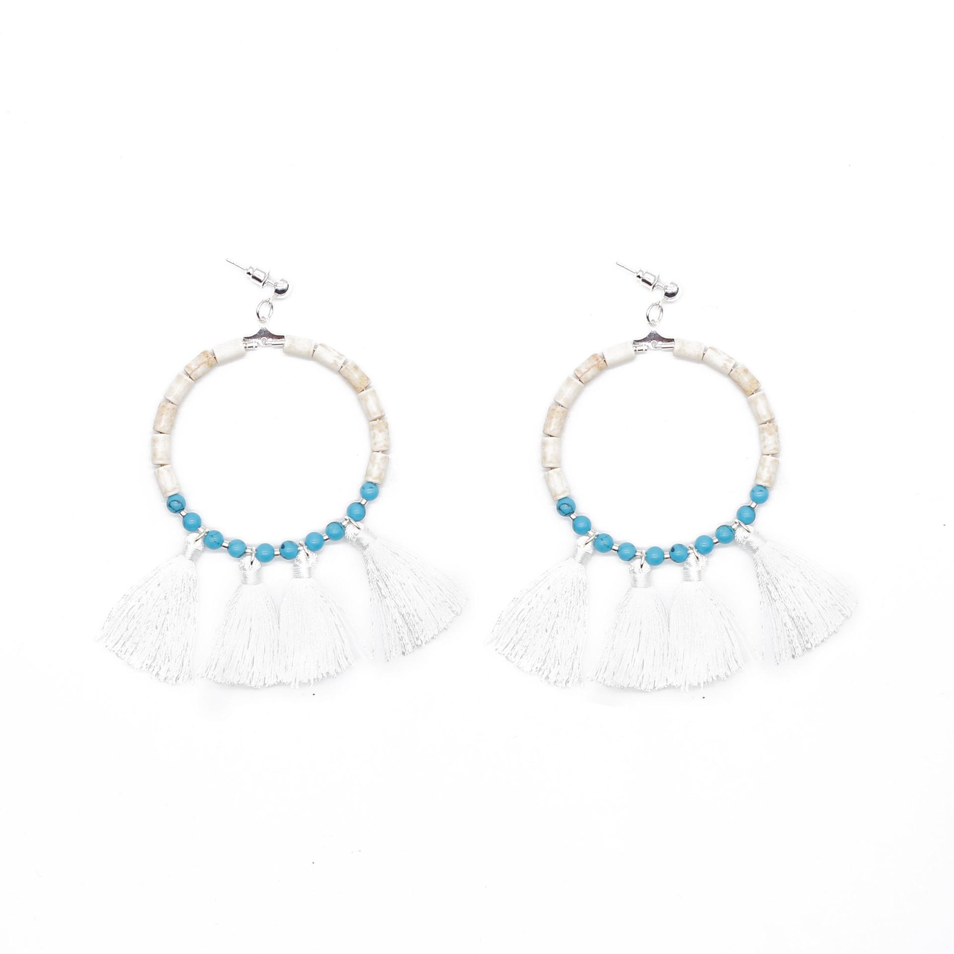 TTT Jewelry boho style earrings raffia handmade boho statement