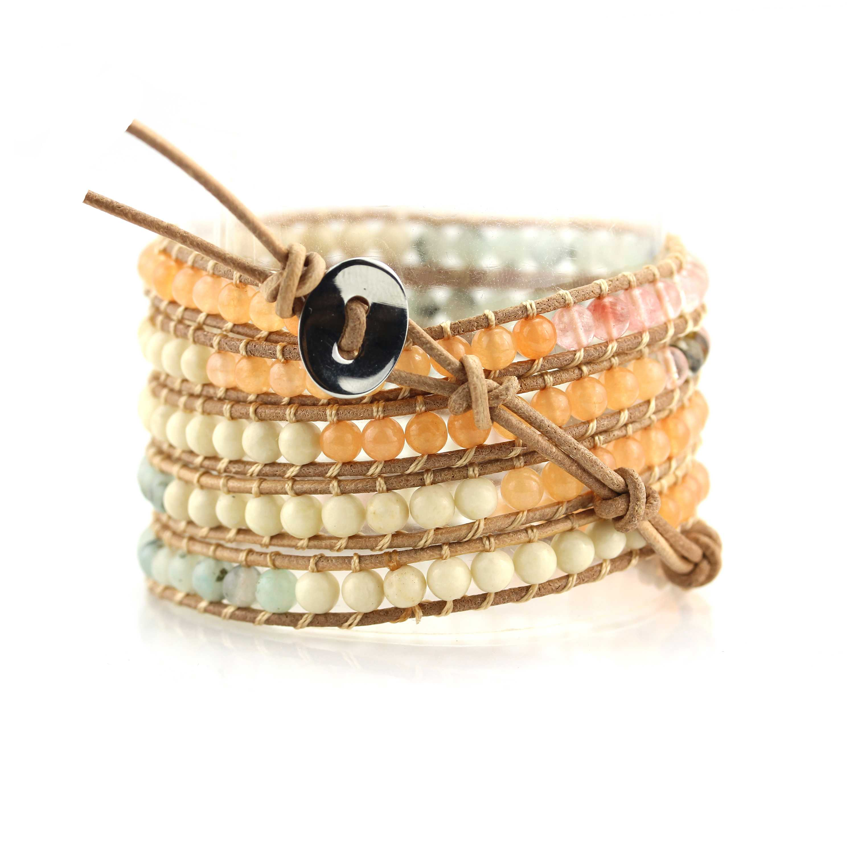 TTT Jewelry Natural Watermelon Skin Light Stone Bead 5 Wrap Handcrafted Bracelet 5 Wraps image14
