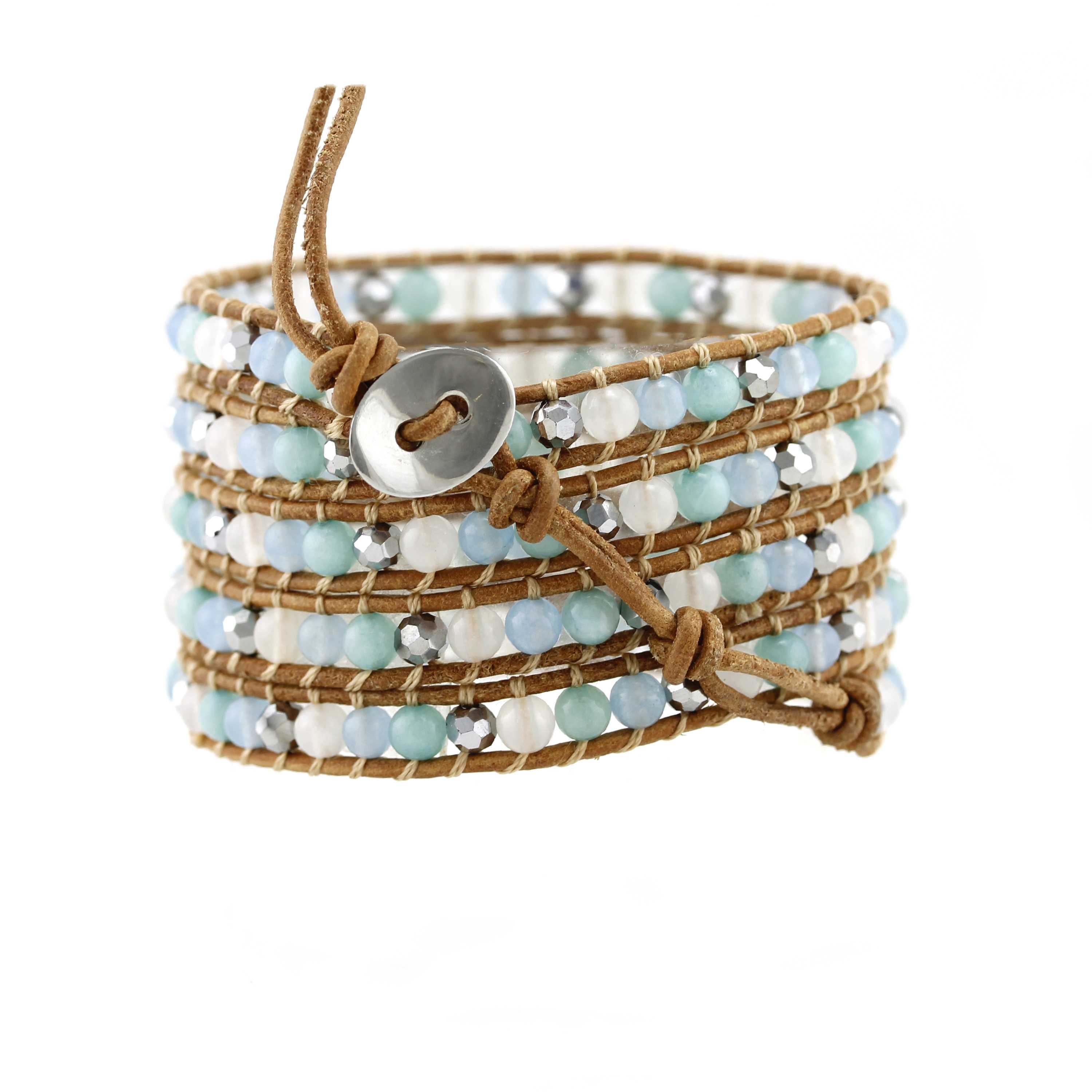 TTT Jewelry Crystal And Stone Beads Wrap Handcrafted Bracelet 5 Wraps image12