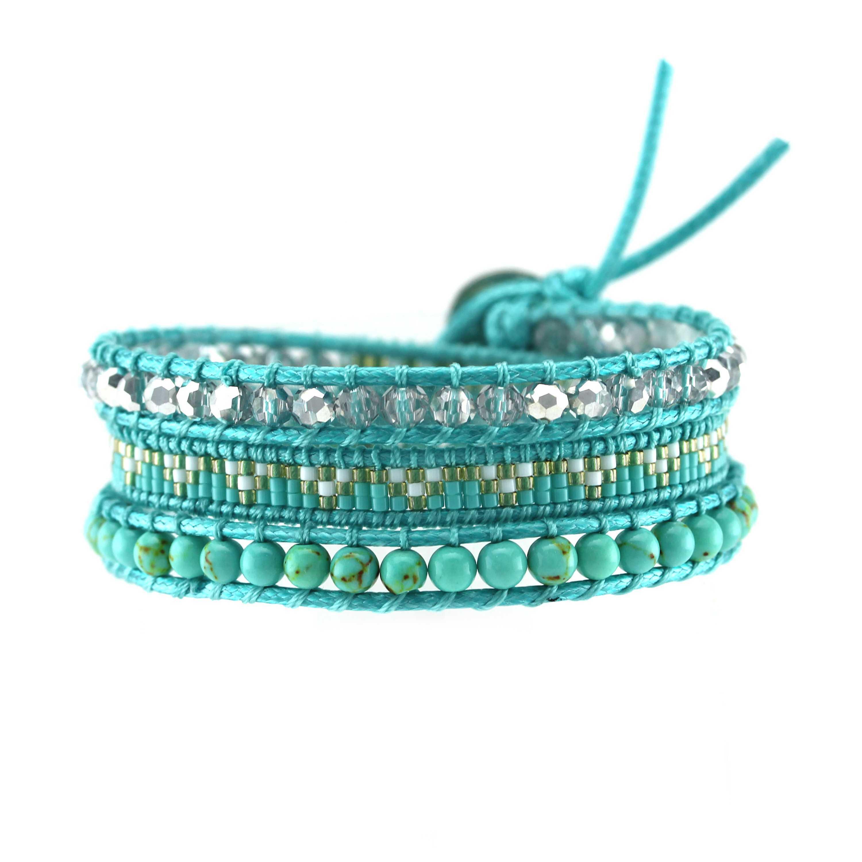 TTT Jewelry Blue Miyuki and Stone Beads Handmade Wrap Bracelet 3 Wraps image9