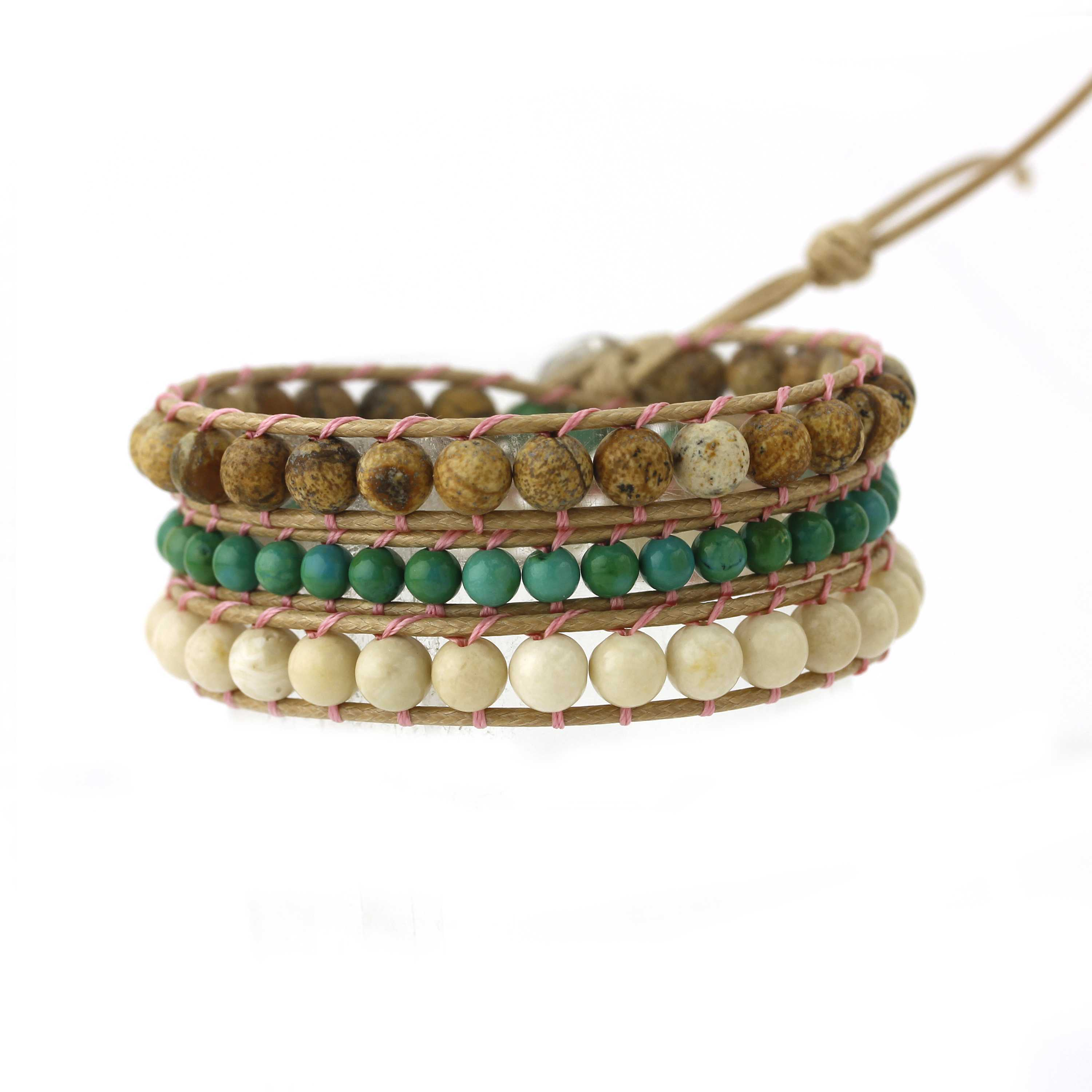 TTT Jewelry Natural Stone Beads Wrap Handmade Bracelet with Stainless Curved Clasp 3 Wraps image8