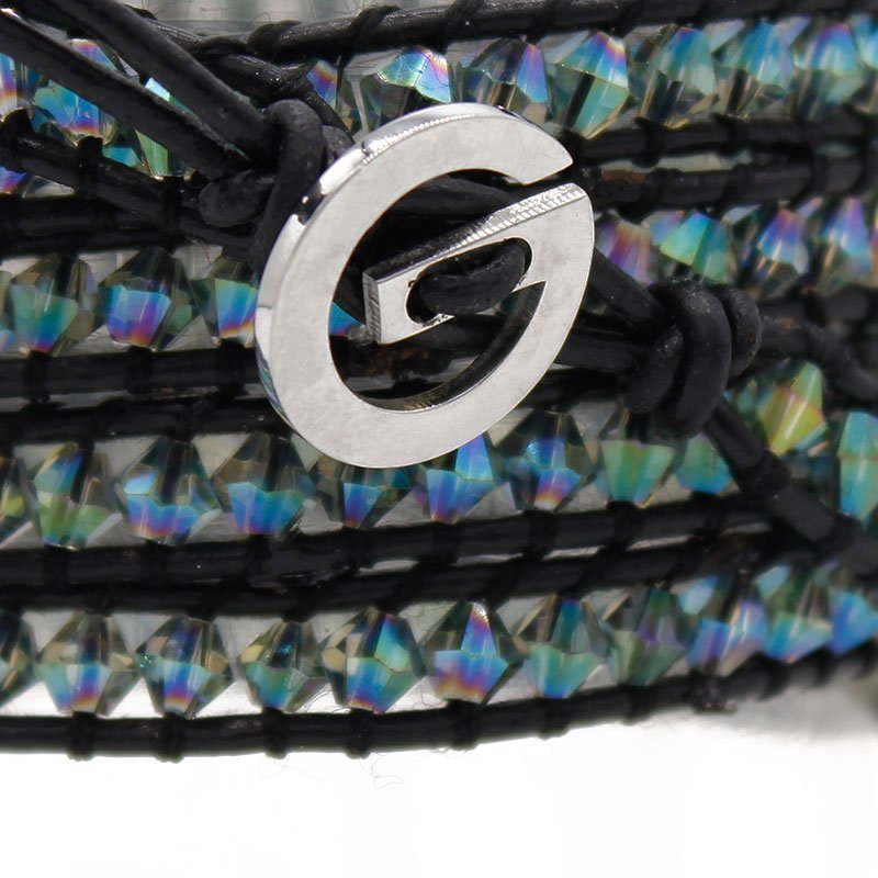 Crystal Handmade Bracelet with Crystal Beads & Genuine Leather