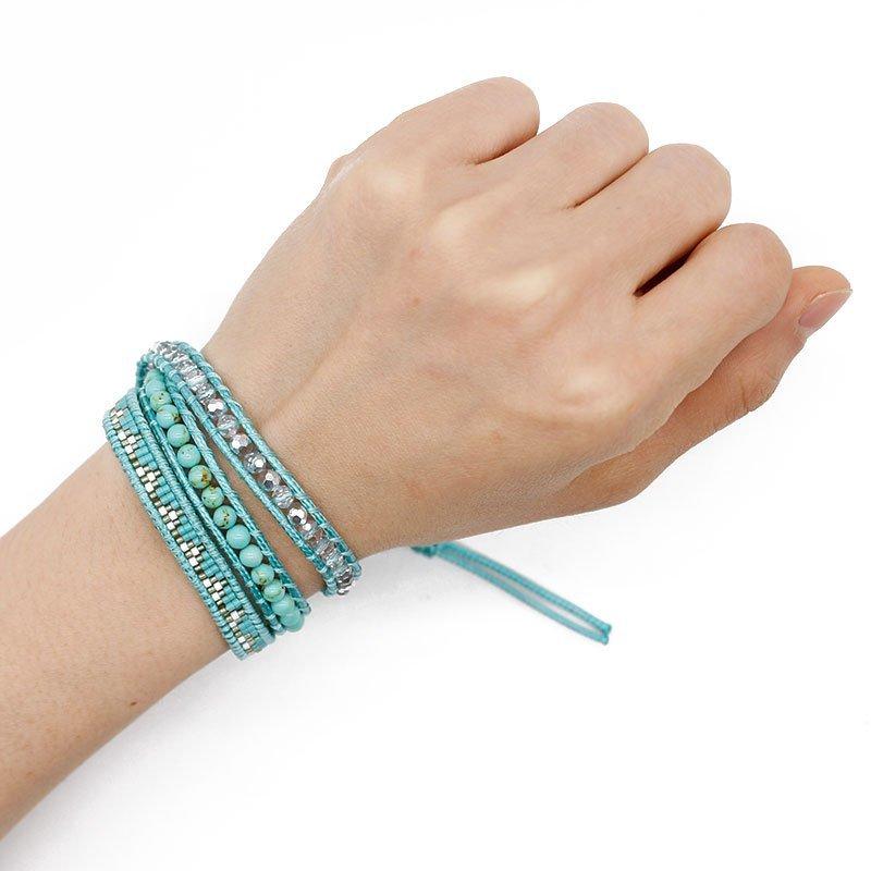 Blue Miyuki and Stone Beads Handmade Wrap Bracelet