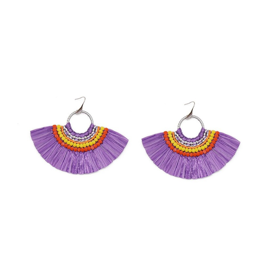 Fan-shaped Raffia Handcrafted Earrings with Bulk Raffia Grass