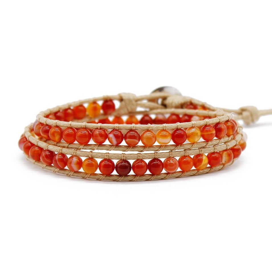 Stone Beads Natural Red Agate Wrap Handmade Bracelet