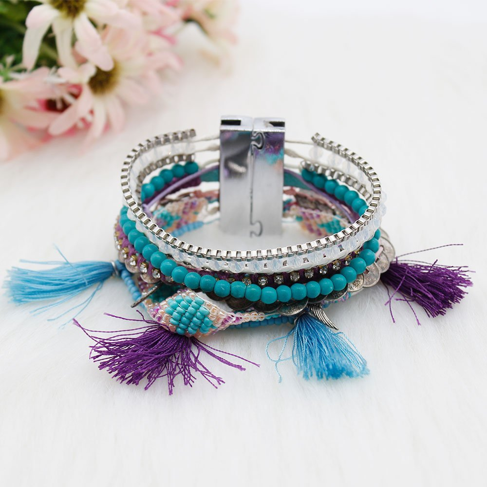 Boho Jewelry Clasp Magnet Handcrafted Bracelet with Tassel