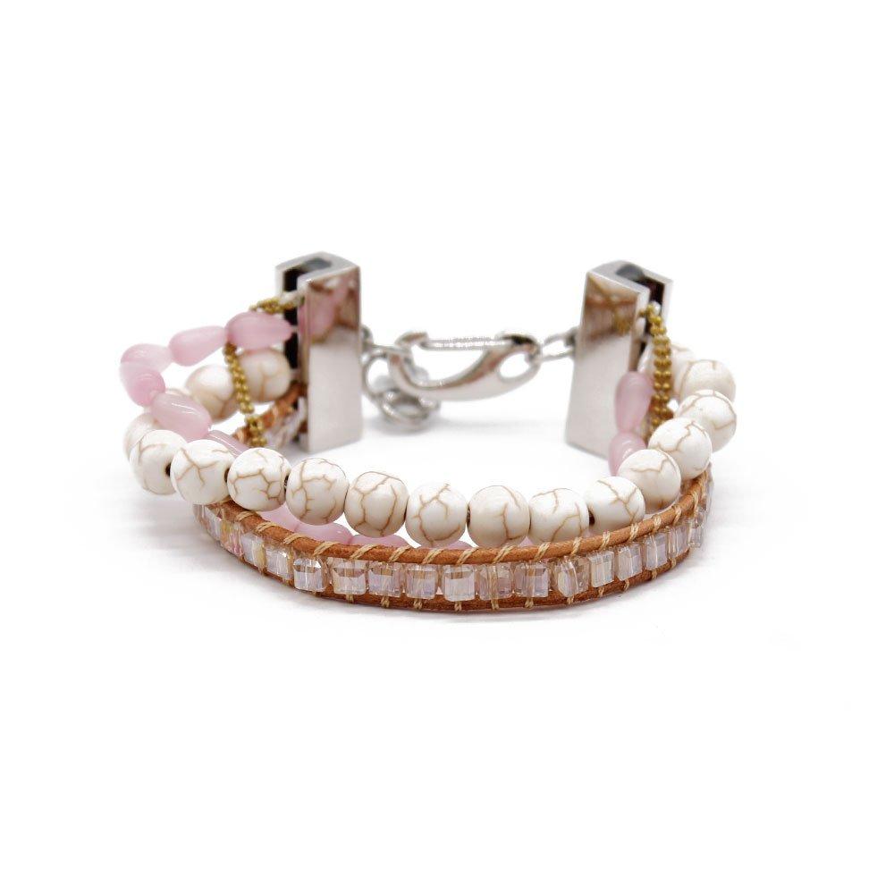 Boho 4 Strands Handmade Bracelet with Gold Copper Chain
