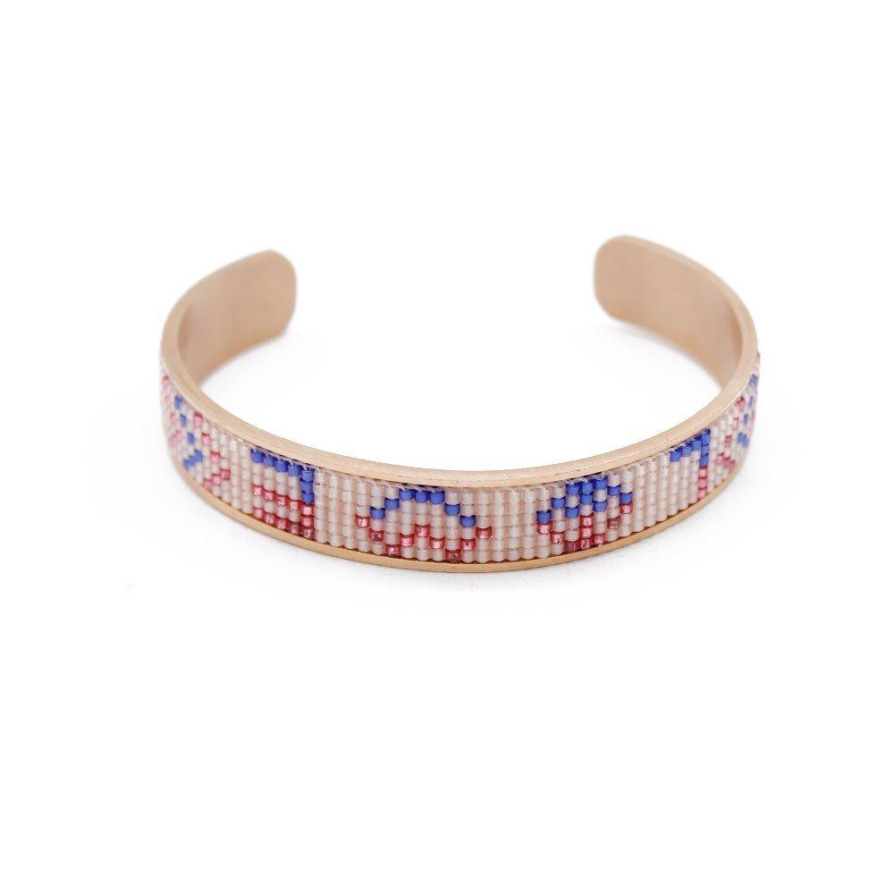 Cuff Bracelet Stainless Steel Handmade Bangle with Miyuki Seed Beads