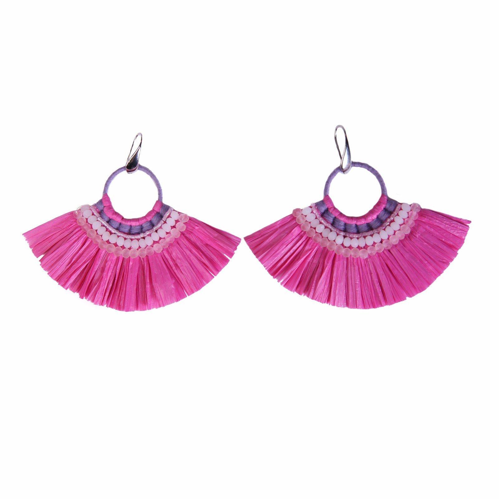 TTT Jewelry fanshaped raffia earrings grass bulk