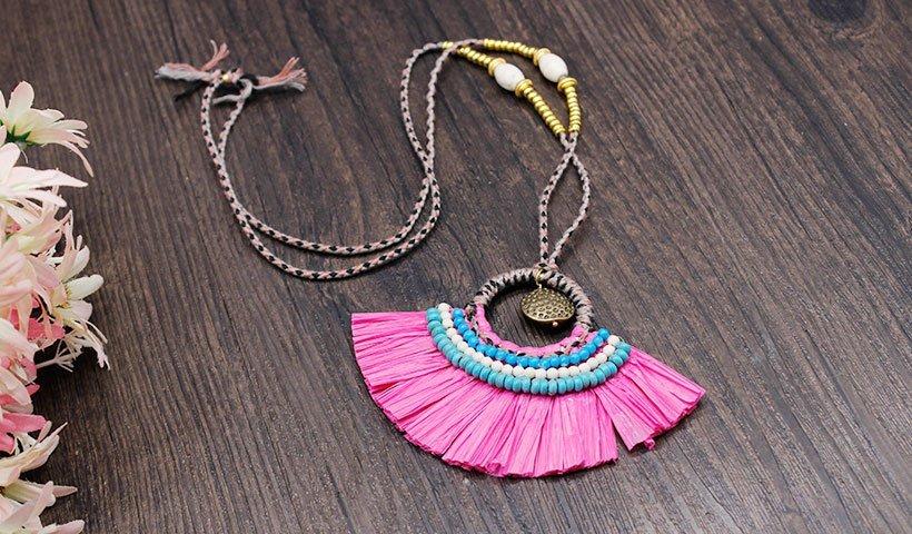 women's jewelry necklaces raffia metal OEM raffia necklace TTT Jewelry
