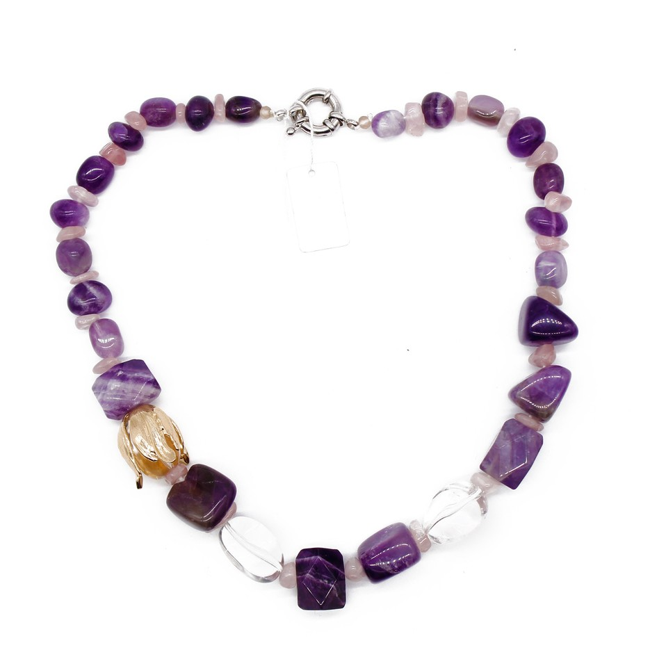 Natural Amethyst Stone Beads Handmade Necklace