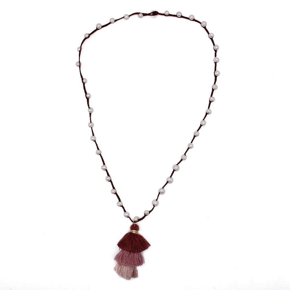 Natural Pearl Handmade Necklace with Cotton Tassel