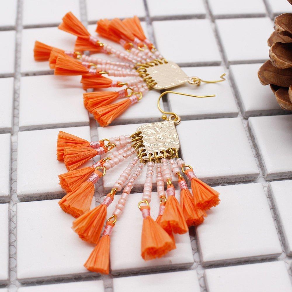 Chinese Seed Bead Cluster Raffia Earrings