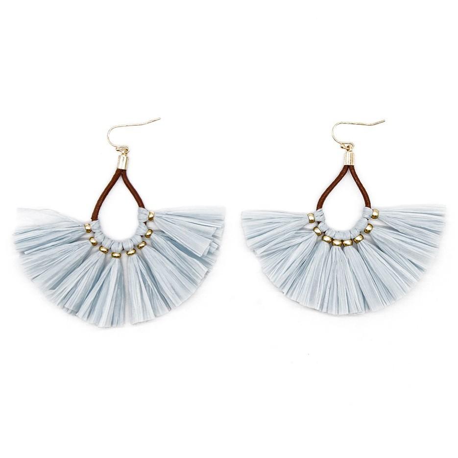 Boho Handmade Earrings with Statement Raffia