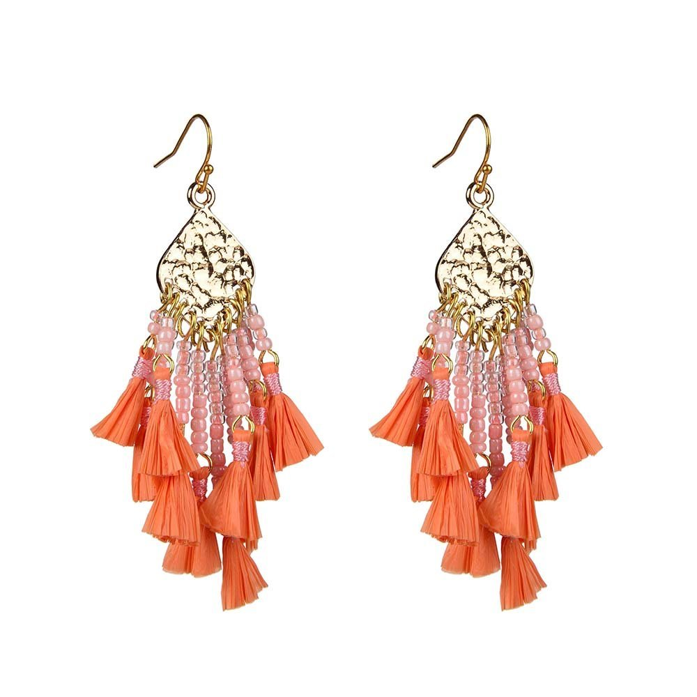 Chinese Seed Bead Cluster Raffia Earrings