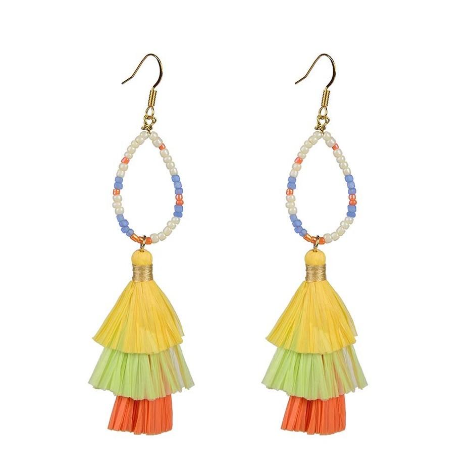 Lovely-Dress Style Raffia Earrings On Sale