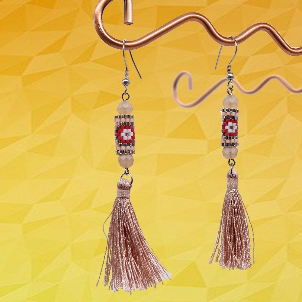 Glass Beaded Jewelry of Miyuki Handmade Earrings