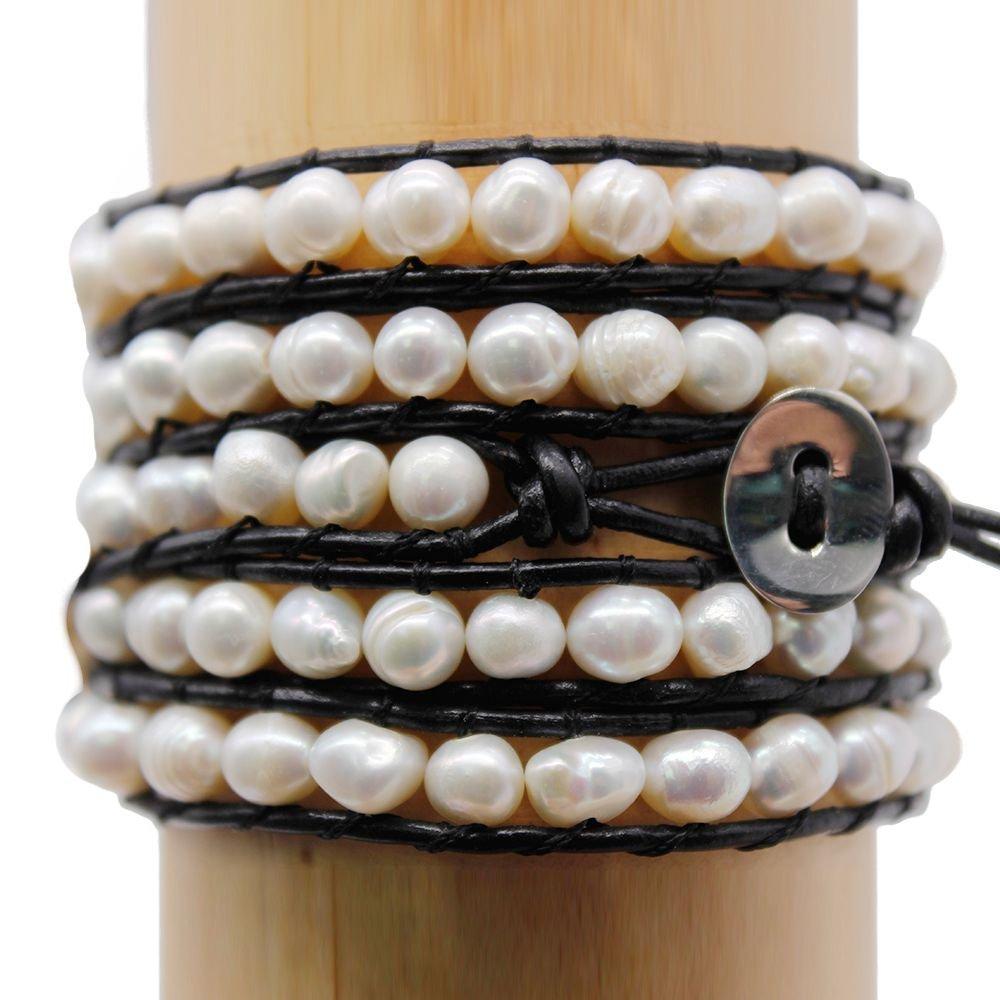 Freshwater Pearl Handmade 5 Wraps Bracelet