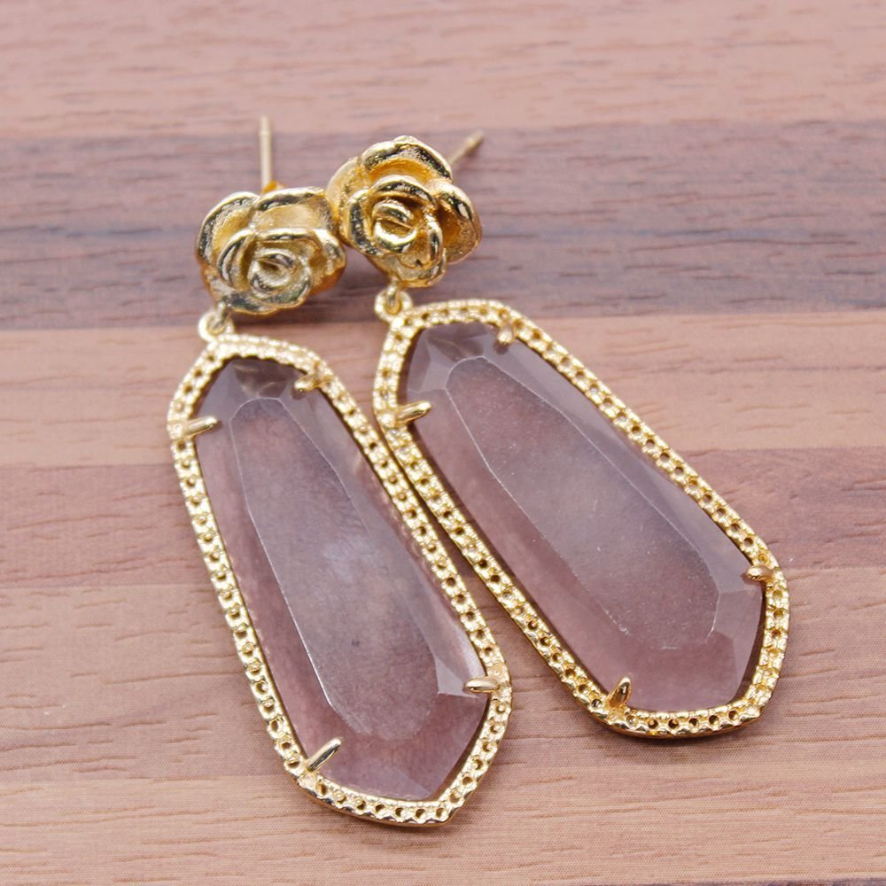 Elegant Handmade Earrings with Stone and Metal Parts