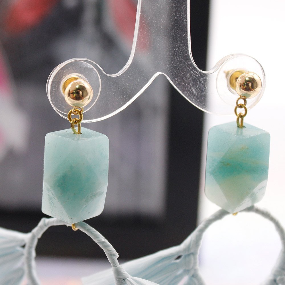 Statement Boho Earrings with Raffia and Natural Stone