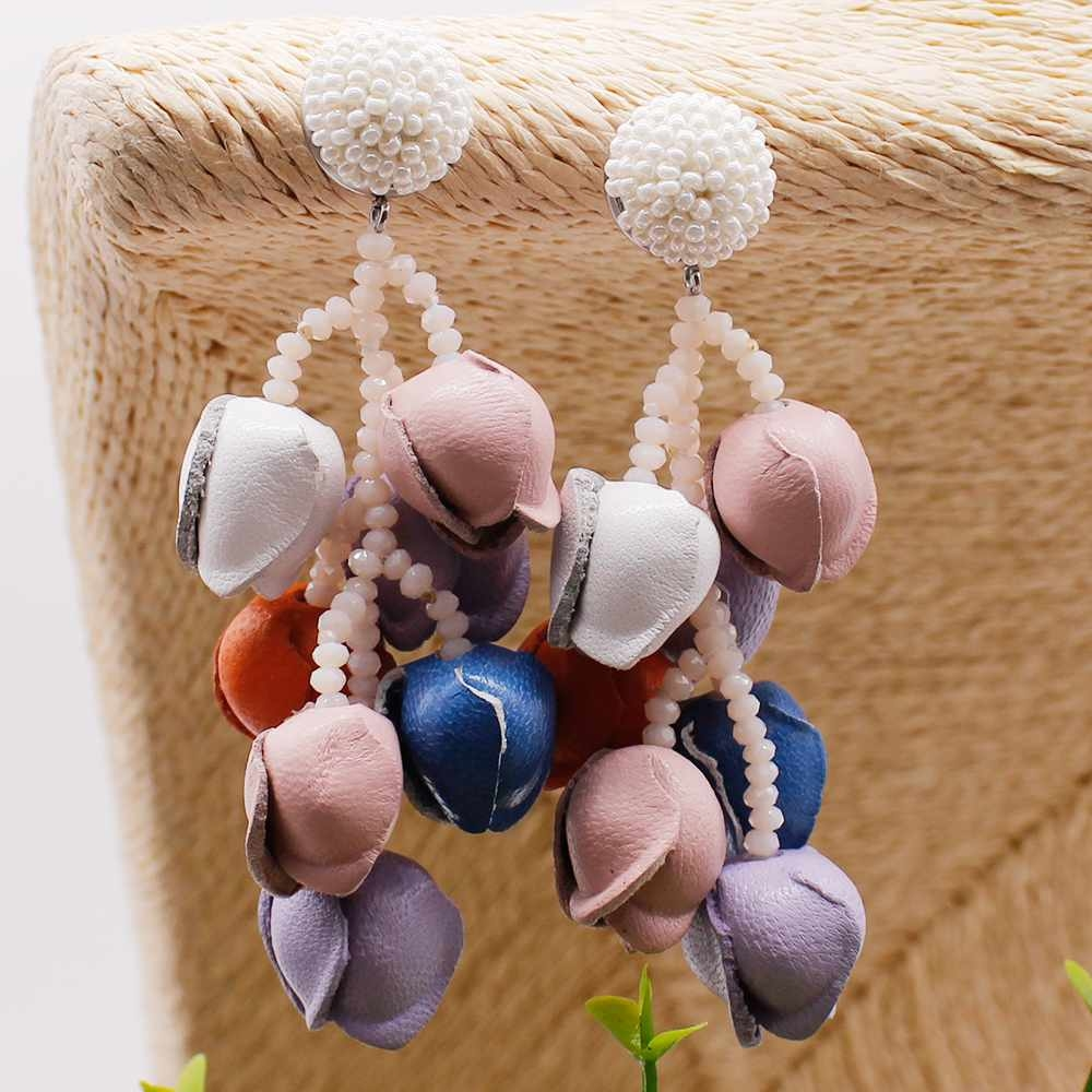 Colorful Rose Leather and Chinese Seed Beads Earrings for Girls Women Vintage Style