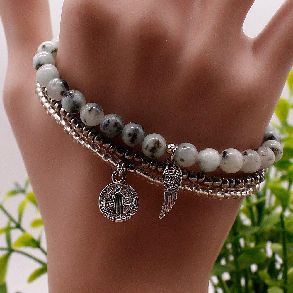 Charm Bracelet 3-Layer Elastic Cord Fashion Design