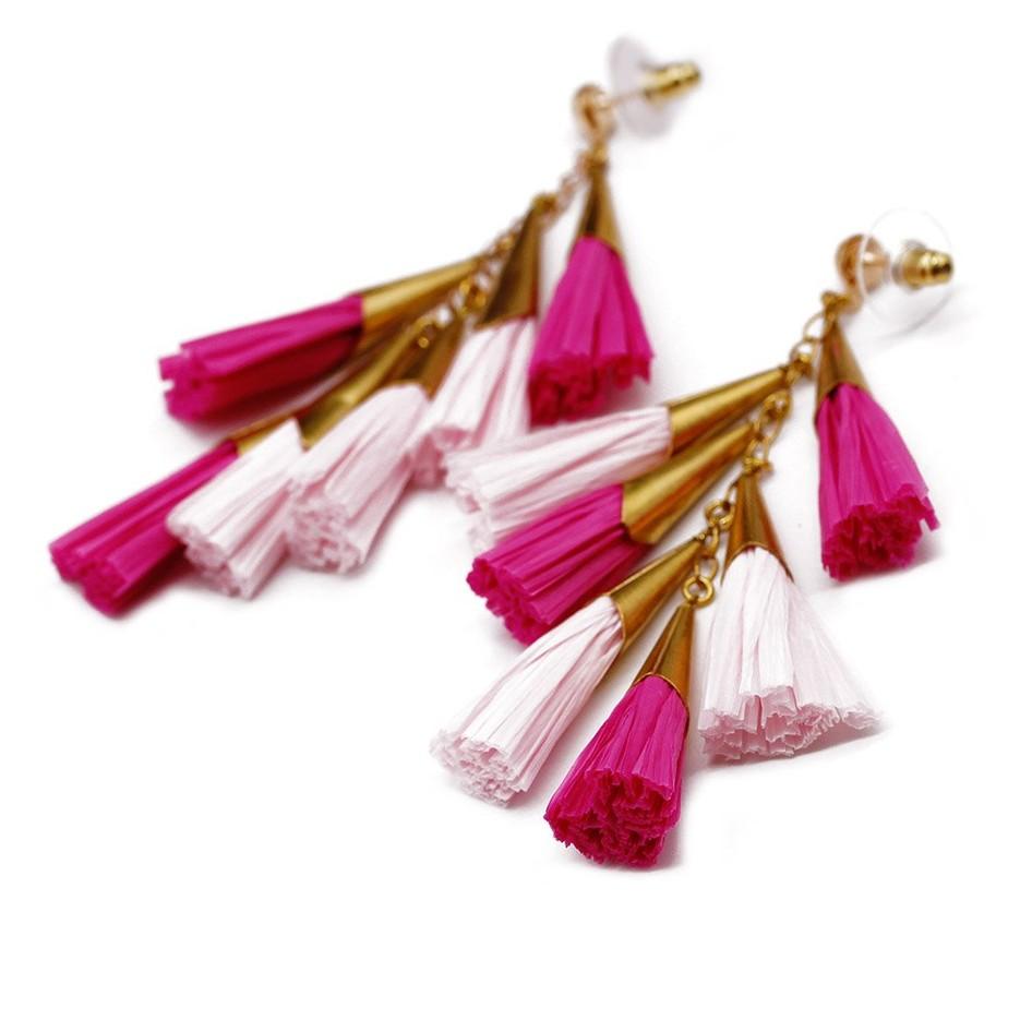 Daydreamer Tassel Earrings Fashion Raffia Earring Bright Color Pure Handmade