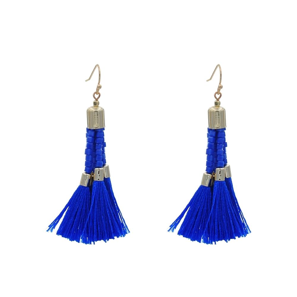 Bohemian Handmade Tassel Earring  With Square Beads For Women