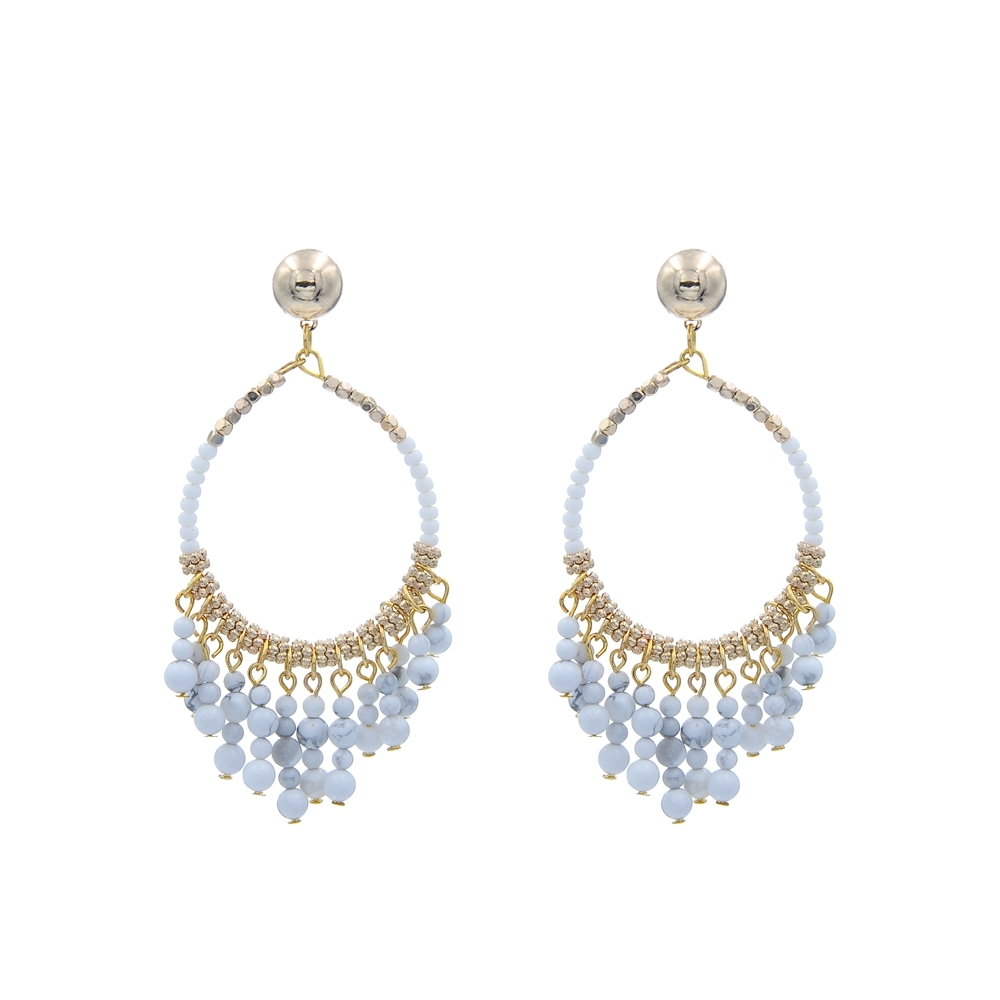Fashion Handmade Natural Stone With Chinese Small Beads Hoop Earring