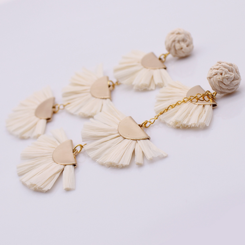 Handmade Three Tier Flabellate Raffia Earrings