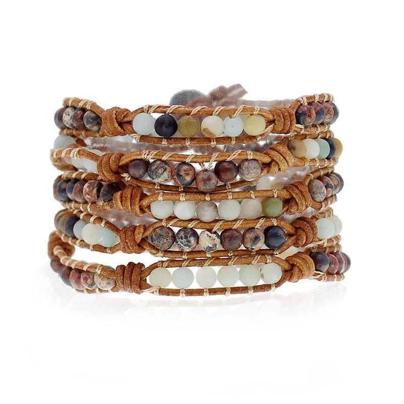 Handmade Natural Stone Beads 5 Wrap Bracelet