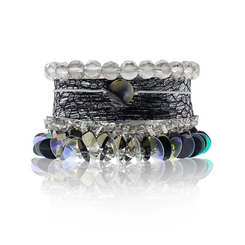 Boho Handmade Leather Bracelet With Crystal Beads