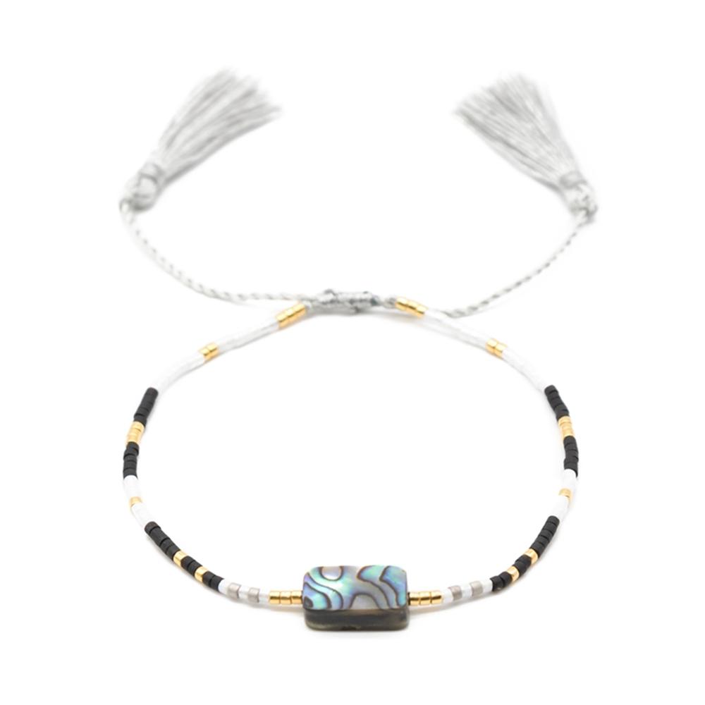 Handmade Miyuki Seed Beads Bracelet With Triangular Tessal And Abalone Shell