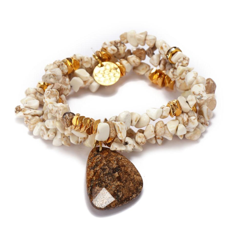 Handmade Irregular Howlite Bracelet For Women