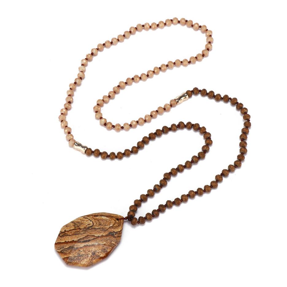 Handmade Natural Stone Picture Jasper Pendant Necklace
