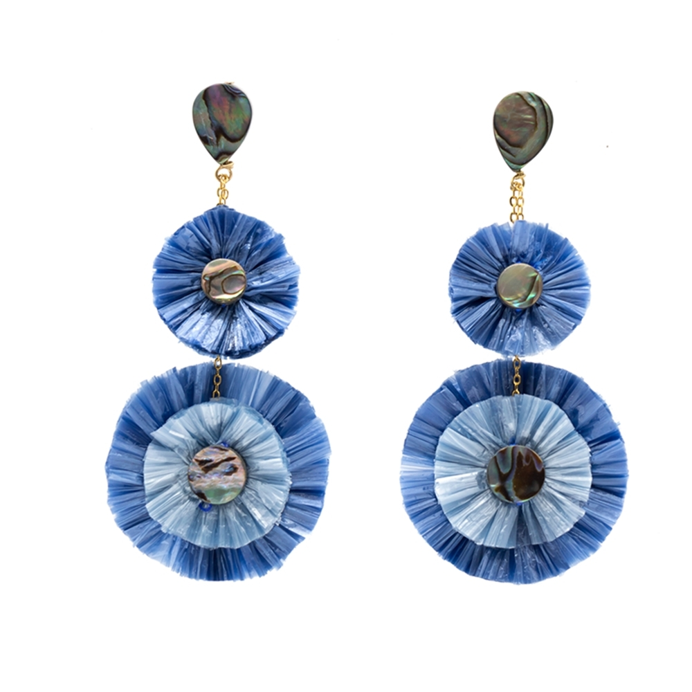 Handmade Double Layers Raffia Earrings With Abalone Shell