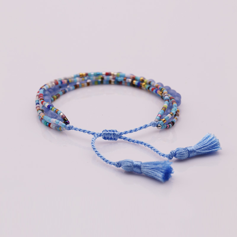 Handmade Miyuki And Stone Bead Bracelet With Tassel