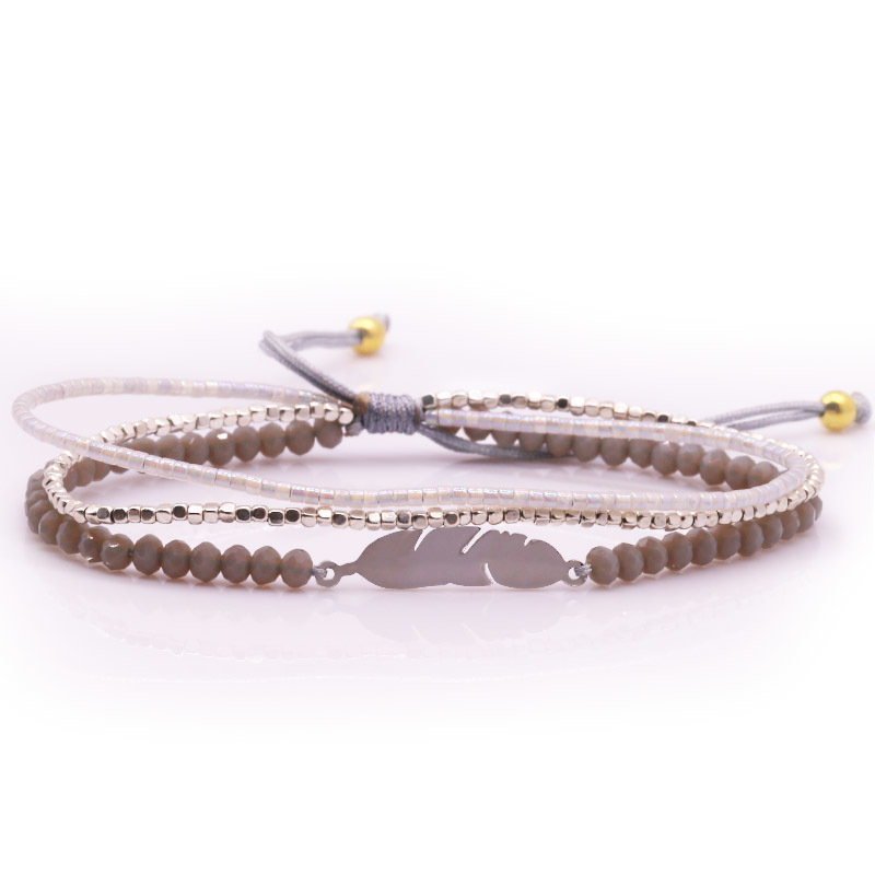 Handmade Miyuki Crystal and Stainless steel Beads Layered Bracelet