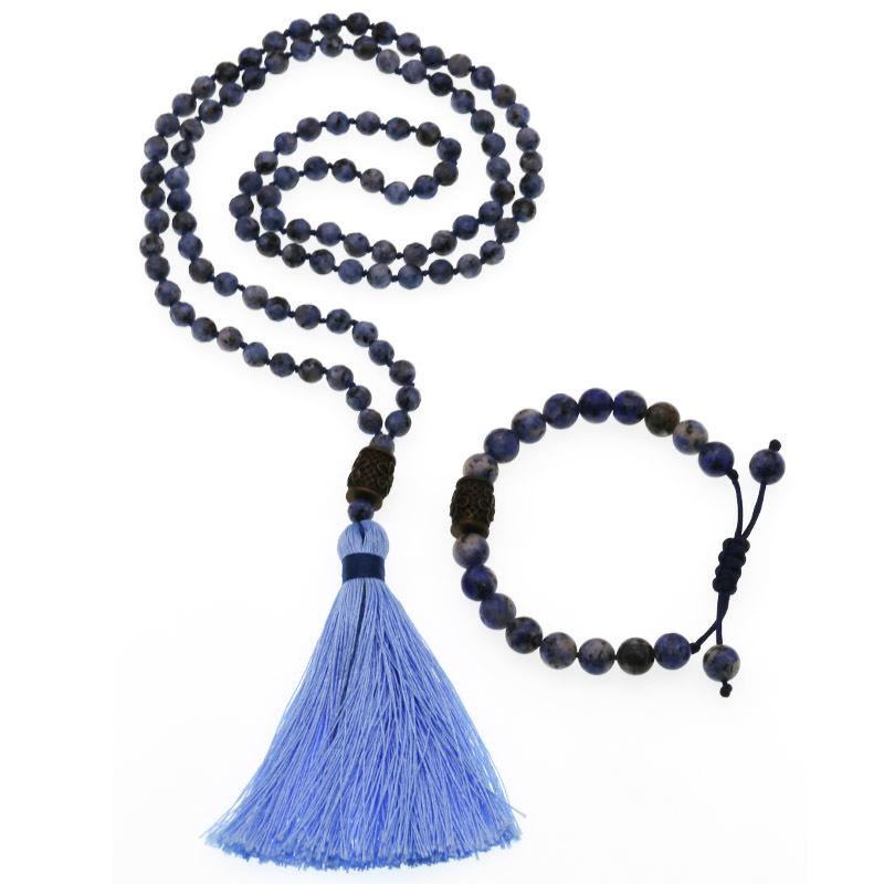 Handmade Blue-vein Stone Beads Mala Necklace Bracelet Set