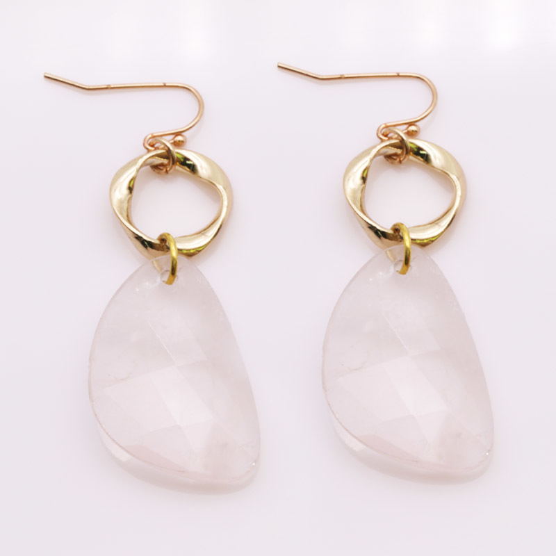 Handmade Rose Quartz Drop Earrings With Copper Accessories