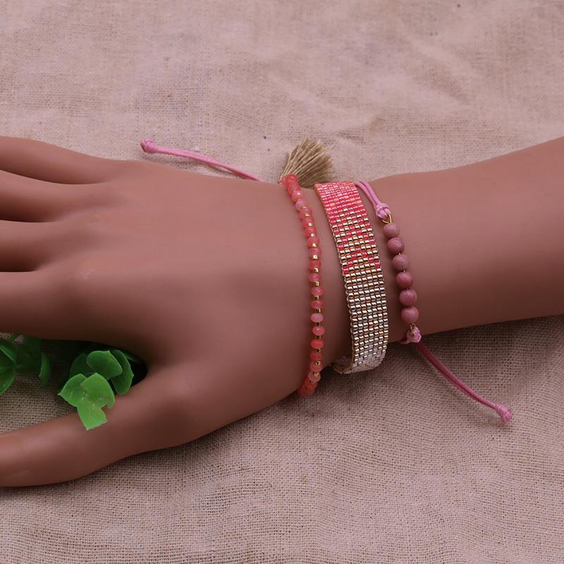Handmade Miyuki And Stone Mutilayer Bracelet Set