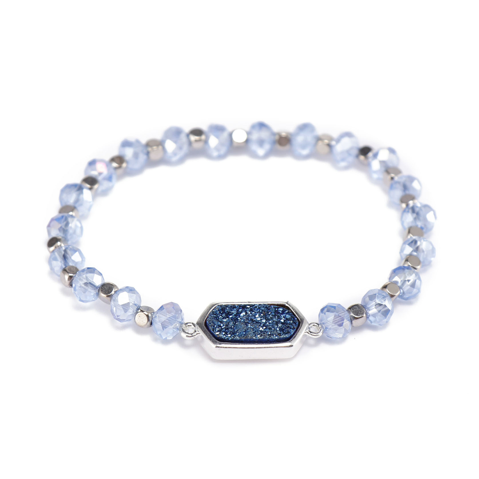 Handmade Crystal Beads Bracelet With Druzy Charms