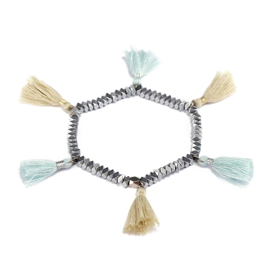 Handmade Hematite Bead Bracelet With Tassel