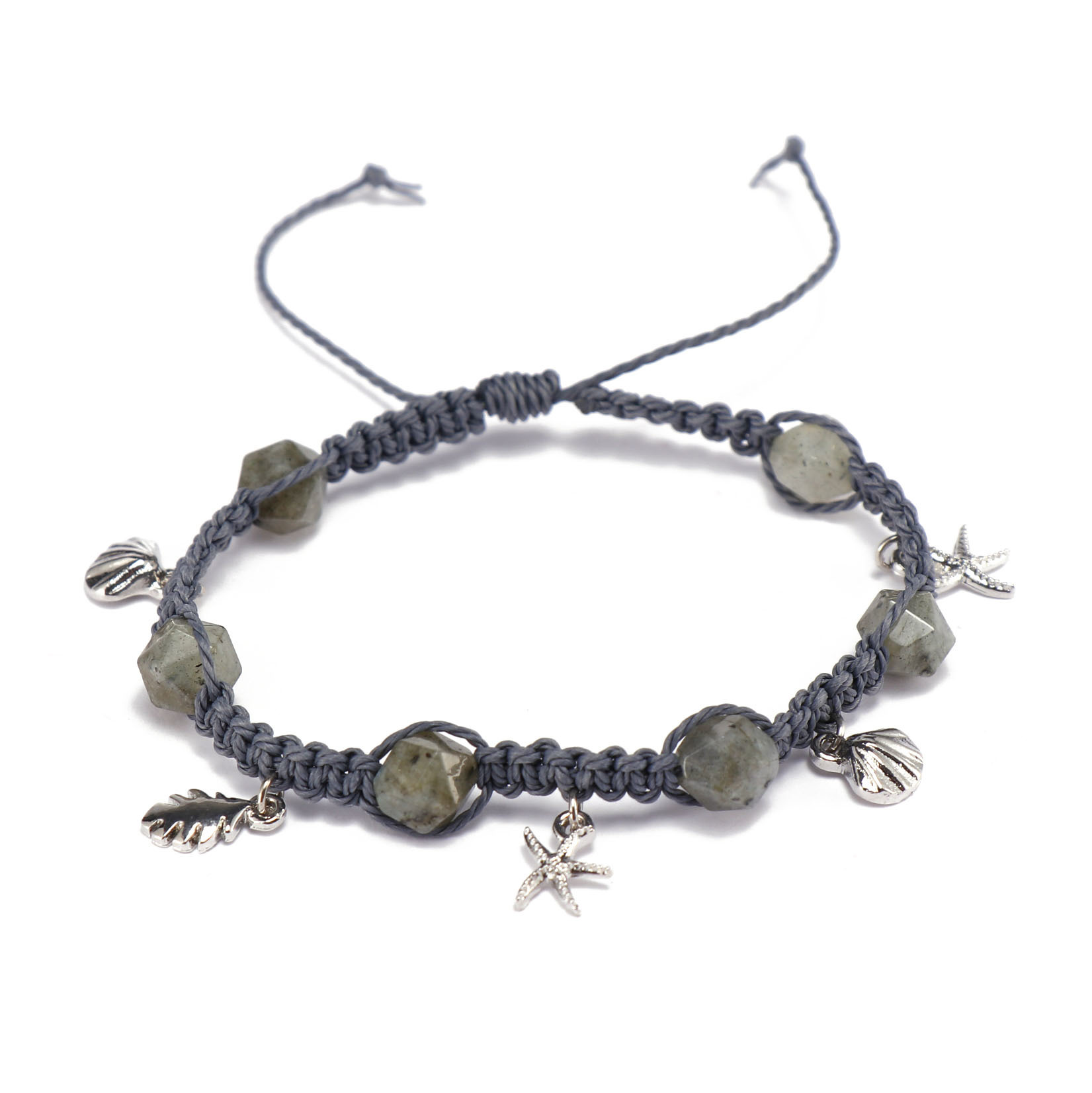Handmade Wax Cord Natural Faceted Stone Bracelet With Aolly Charms