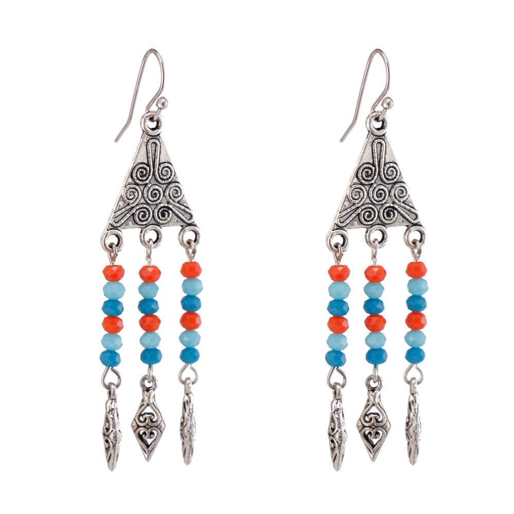 Handmade Crystal Beads Alloy Drop Earrings