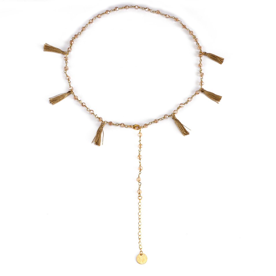 Handmade Crystal Beads Necklace With Tassel