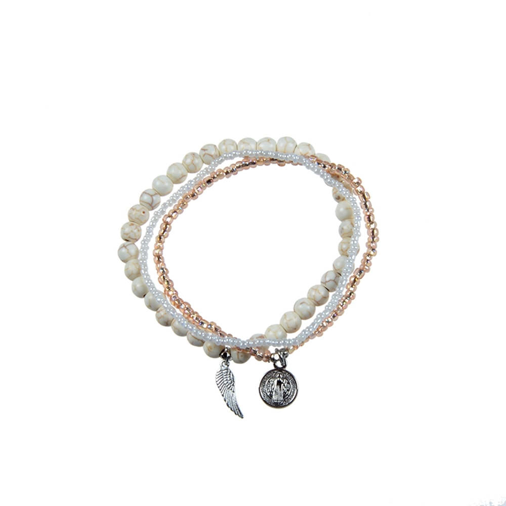 Handmade Stone And Copper Beads Mutilayer Seed Bead Bracelet Set