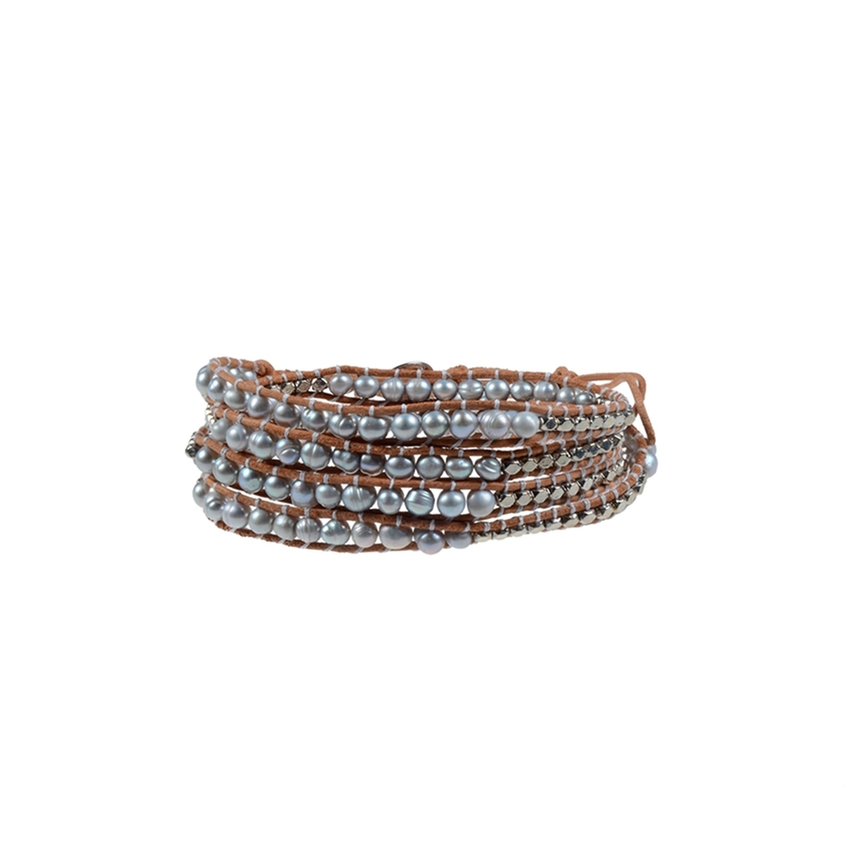 Pearl Wrap Bracelet With Copper Accessories