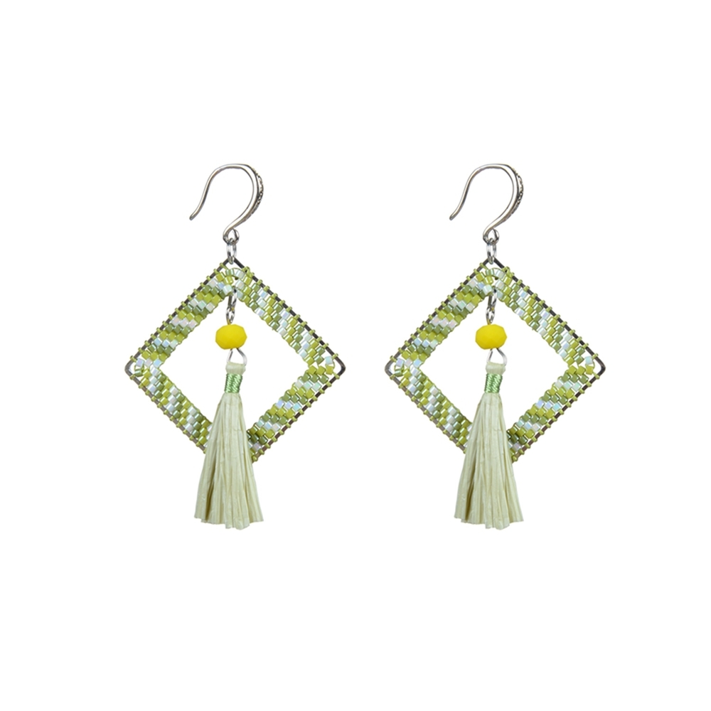Raffia Tassel And Miyuki Seed Bead Drop Earrings